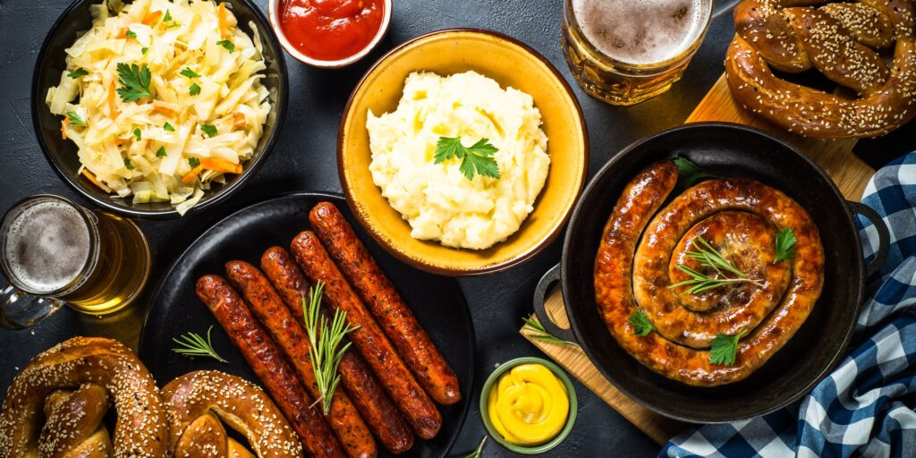 Oktoberfest food - sausage, beer and bretzel