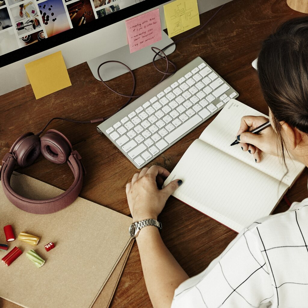 Woman Analysis Working Writing Concept